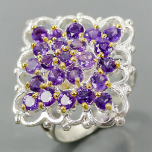 Handmade Amethyst Ring Silver 925 Sterling  Size 8 /R177682