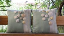 2 Decorative Handmade Pillow Cover Set Handmade Flowers, 100% Cotton, 18x18