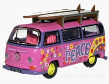 "Oxford VW Bus Pink ""Flower Power"" w/Surf Boards Die-Cast Metal 1/76 OO Scale"