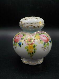 Antique Vtg Painted Porcelain Muffineer Pink Roses Sugar Shaker Exc!