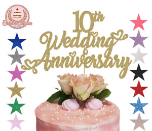 Wedding Anniversary Cake Topper Glitter Topper 1st 10th 20 30 40 any number