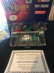 Autographed KEN SCHRADER #33 WINNERS CIRCLE PIT ROW SERIES 1:64 SCALE NIP COA