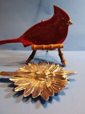 New Mariposa Red Cardinal Nut Dish & flower dish with knife