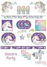 Unicorn Birthday Party Decorations & Tableware Napkins Plates Cups Balloons