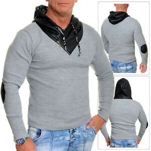 Men's Long Sleeve Hoodie Eco Leather Elbow Patches Hood UK Slim Fit Cotton Grey