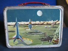 Vintage Thermos Brand Lunch Box Space Rocket Moon Astronaut 1950's-60's NO Therm