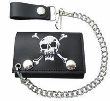 New Embroidered Skull & Crossbones Leather Trifold Chain Wallet USA Made
