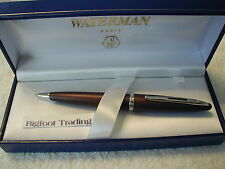 WATERMAN CARENE LEATHER BROWN BALLPOINT PEN GIFT BOXED Manuf Discontinued Finish