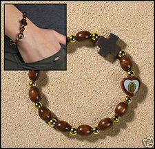 Our Lady of Guadalupe Heart Rosary Bracelet NEW (RS619) Wood