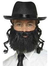 Rabbi Hat with Payes Adult Size Jewish Costume Curly Black Hair Beard Glasses