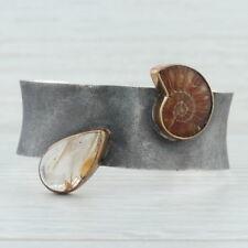 Bora Cuff Bracelet - Sterling Silver Rutilated Quartz Ammonite Shell Statement