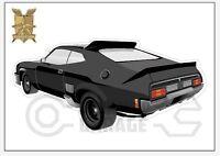 Mad Max Black Interceptor movie car no tanks - XX Large Sticker - Rear View
