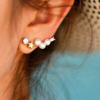 Fashion Lovely Women Pearl Pentagram Ear Stud Earrings Jewelry Gift 6N