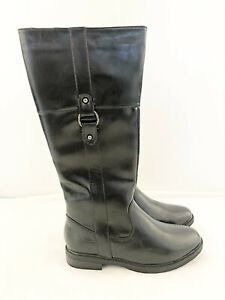 New Ladies Nature's Own Black Faux Patent Leather Buckle Riding Boot UK Size 6