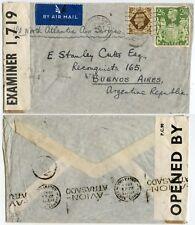 GB to ARGENTINA NORTH ATLANTIC AIR SERVICE CENSORED 2/6 + 1/- 1943 AVION MACHINE