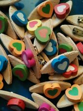 JOB LOT 99 HANDMADE CANDY COLOURED WOODEN HEART BROOCHES  wedding party favours