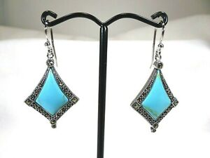 Lab-Created Blue Turquoise & Marcasite Solid Sterling Hook Earrings