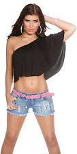 Sexy One Shoulder Top T-Shirt Shirt Bandeau Crop Top Volants Schwarz 34 36 38