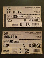 LOT 2 TICKETS FOOTBALL PSG 97/98 METZ MONACO