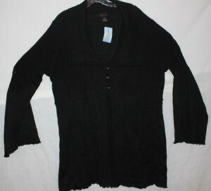 Torrid Sz 3 - Black Rib Collar Flyaway Sweater