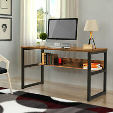 """55"""" Large Computer Desk with Bookshelf Writing Table Oak Home Office Workstation"""