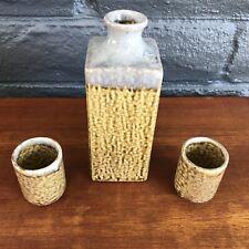 Mid Century Modern Japanese 12 oz Saki Serving Bottle & cups - Made in Japan