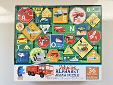 "NEW! CEACO KIDS (#1633-1) VEHICLES ALPHABET 36 Piece Puzzle 19""X13"" Made in USA"