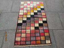 Old Traditional Hand Made Persian Oriental Gabbeh Rug Wool Pink Purple 140x85cm