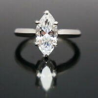2 Ct Marquise Cut Diamond Solitaire Engagement Wedding Ring 14K White Gold Fn
