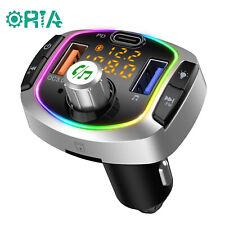ORIA Bluetooth Adapter for Car, V5.0 FM Transmitter, QC3.0  7 Colors LED Backlit