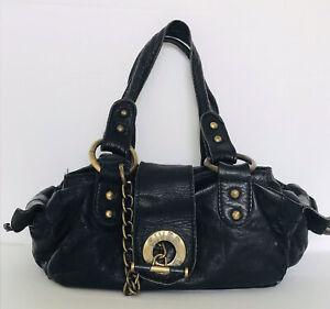 RIVER ISLAND Real Leather Black Distressed Slouch Shoulder Bag Grab Handbag