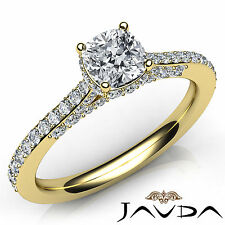 Shiny Cushion Diamond Pave Set Engagement Ring GIA E VVS2 18k Yellow Gold 1.36Ct