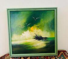 Mid-Century Modern Original Signed MATSON CA Acrylic Seagull Painting on Board