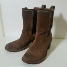 Frye mid-calf boots, tough suede and elastic in shaft, brown, size 38