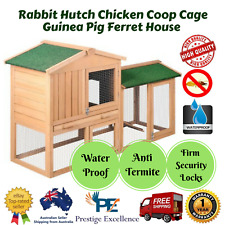 Large Wooden Rabbit Hutch Chicken Coop Cage Ferret House 2-Storey Slide Out Tray