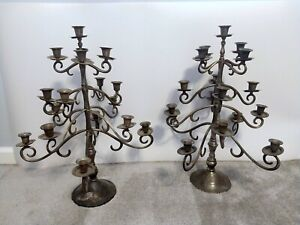 """Pair of Vintage Pewter Candelabra - 17 Candle - 20 1/2"""" tall"""