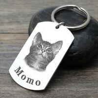 Personalized Dog Keychain Engraved Pet Photo Key Chain Memorial Gift Cat Keyring