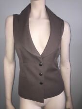 Sharagano Sexy Brown Mocha Taupe Fitted Corset Sleeveless Jacket Vest Size 6