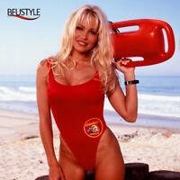 Klassischer BAYWATCH Badeanzug Damen Sexy Roter Badeanzug Einteiler Bademode