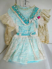 Antique Reproduction Dress Turq. Blue w/ Lots of Cream Color Lace for Large Doll