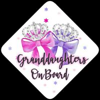 Granddaughters on Board,Child Baby On Board Car sign Pink & Purp Bows Non Pers