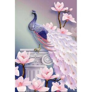 DIY Full Drill 5D Diamond Painting Embroidery Cross Stitch Kits Purple Peacock