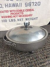 Vintage hammered aluminum covered dish. Marble top and feet! Unusual!
