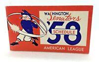 1958 Washington Senators Baseball Schedule American League