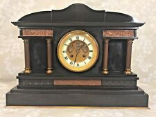 Vintage Slate and Bronze Mantel Clock Open Escapement Runs Not Sure About Strike