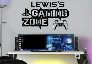 Gaming Zone Personalised Wall Stickers Decals PS Gamer Controller Wall Art Kid 5