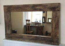 Square Farmhouse Rustic Wooden Mirror Chunky Wide Frame Dark Brown 60cm X 60 Cm