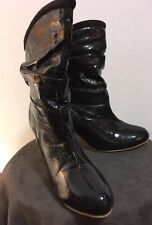 """Black patent leather slouchy boots Japanese 3"""" cone heels, fur trim US 7,EU 37.5"""