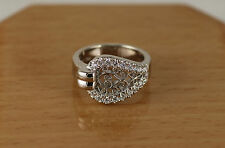 Ladies Filigree Pave Diamond Buckle Design Ring