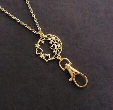 Gold Star Lanyard Gold Chain Lanyard Heart Gold ID Badge Holder Teacher Lanyard
